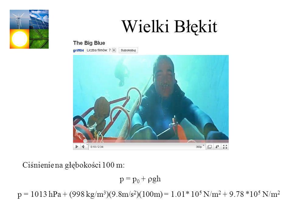 Wielki Błękit p = p 0 + gh Ciśnienie na głębokości 100 m: p = 1013 hPa + (998 kg/m 3 )(9.8m/s 2 )(100m) = 1.01* 10 5 N/m 2 + 9.78 *10 5 N/m 2