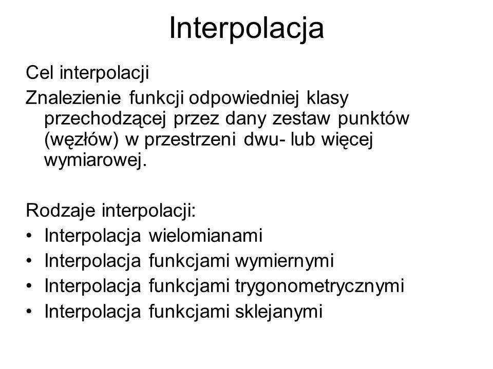 Interpolacja Cel interpolacji Znalezienie funkcji odpowiedniej klasy przechodzącej przez dany zestaw punktów (węzłów) w przestrzeni dwu- lub więcej wy