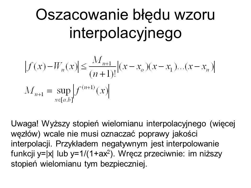 Oszacowanie błędu wzoru interpolacyjnego Uwaga! Wyższy stopień wielomianu interpolacyjnego (więcej węzłów) wcale nie musi oznaczać poprawy jakości int