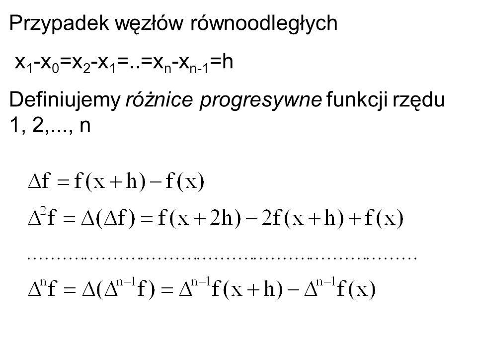 Przypadek węzłów równoodległych x 1 -x 0 =x 2 -x 1 =..=x n -x n-1 =h Definiujemy różnice progresywne funkcji rzędu 1, 2,..., n