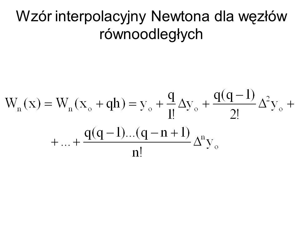 Wzór interpolacyjny Newtona dla węzłów równoodległych