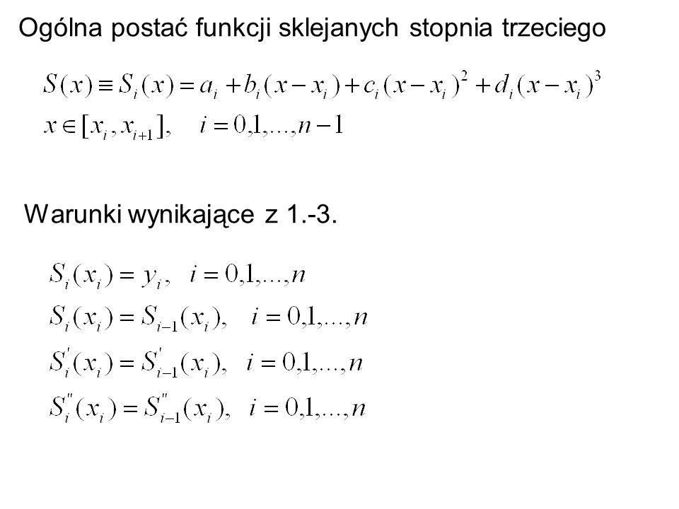 Warunki wynikające z 1.-3. Ogólna postać funkcji sklejanych stopnia trzeciego