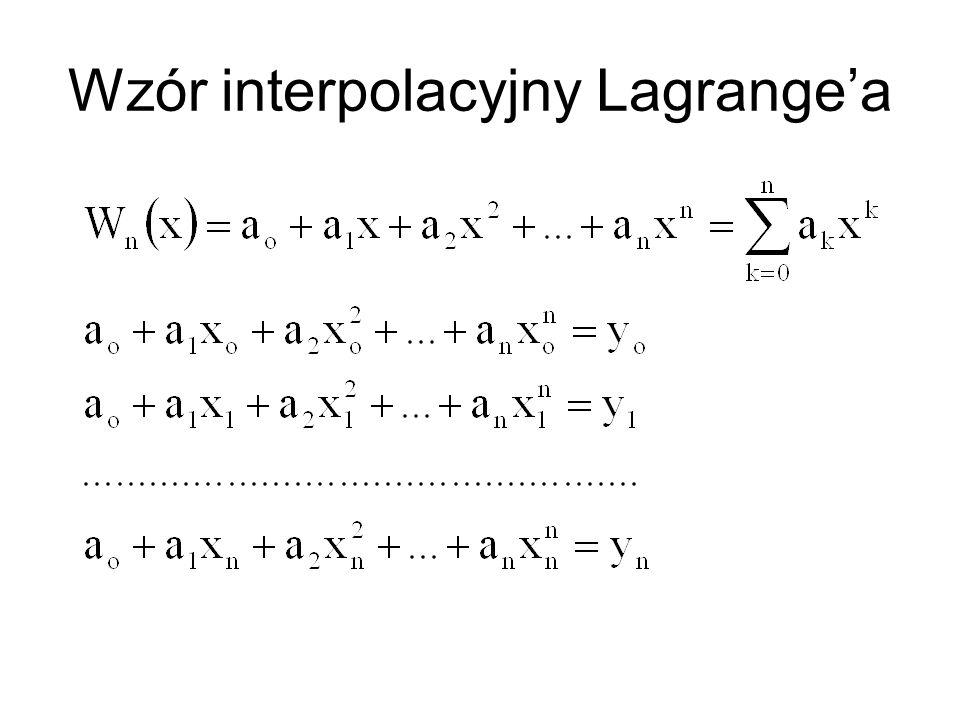 Wzór interpolacyjny Lagrangea