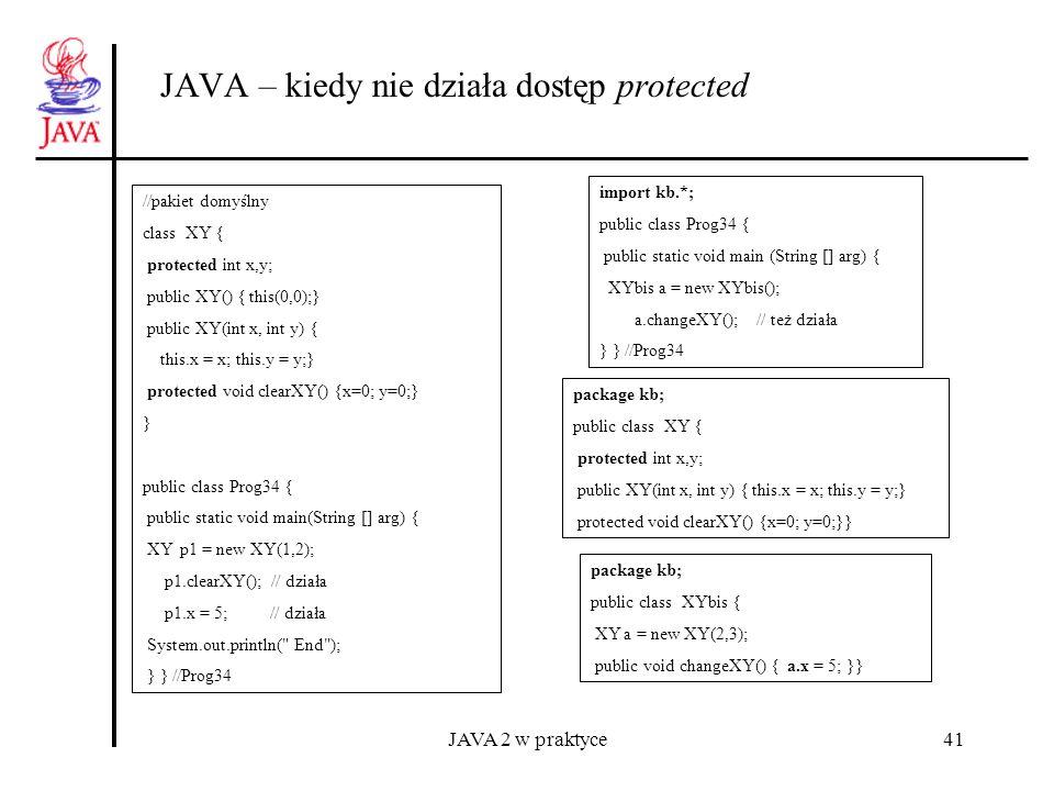 JAVA 2 w praktyce41 JAVA – kiedy nie działa dostęp protected //pakiet domyślny class XY { protected int x,y; public XY() { this(0,0);} public XY(int x