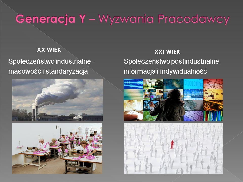 Społeczeństwo postindustrialne informacja i indywidualność Społeczeństwo industrialne - masowość i standaryzacja XX WIEK XXI WIEK