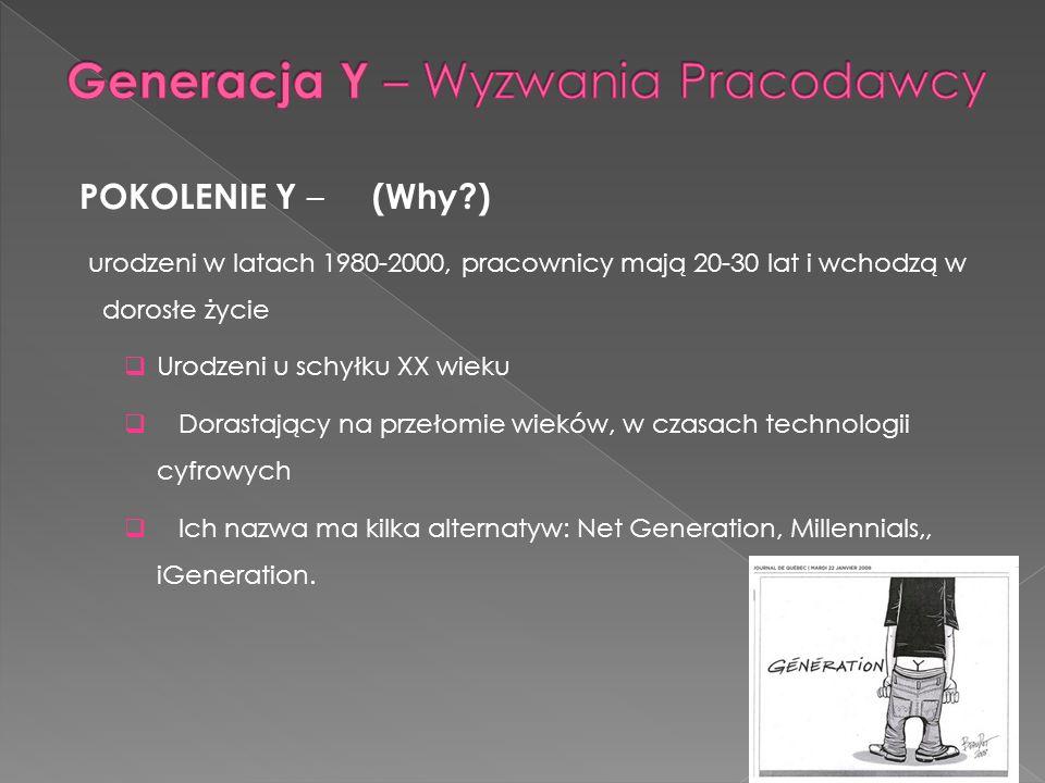POKOLENIE Y – (Why?) urodzeni w latach 1980-2000, pracownicy mają 20-30 lat i wchodzą w dorosłe życie Urodzeni u schyłku XX wieku Dorastający na przeł