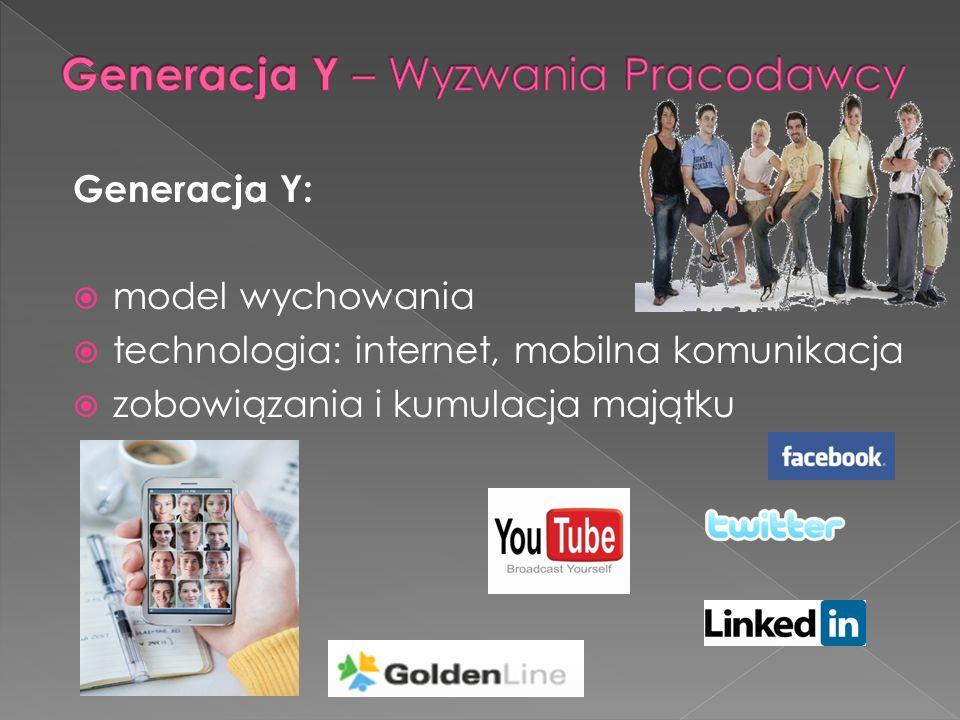 Generacja Y: model wychowania technologia: internet, mobilna komunikacja zobowiązania i kumulacja majątku