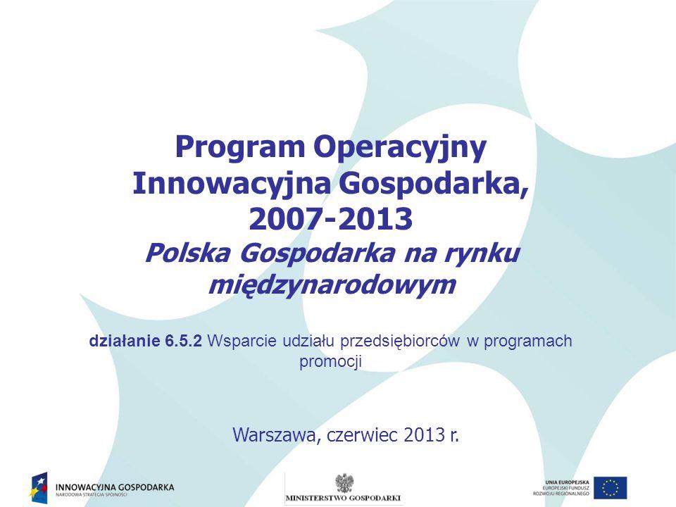 Program Operacyjny Innowacyjna Gospodarka, 2007-2013 Polska Gospodarka na rynku międzynarodowym działanie 6.5.2 Wsparcie udziału przedsiębiorców w pro