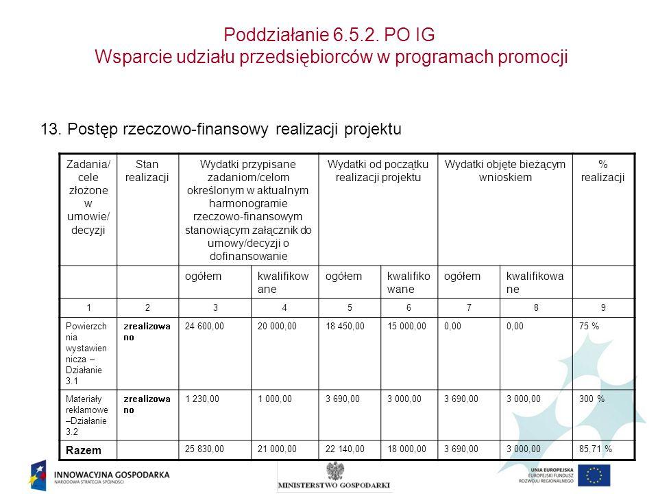 Poddziałanie 6.5.2. PO IG Wsparcie udziału przedsiębiorców w programach promocji 13. Postęp rzeczowo-finansowy realizacji projektu Zadania/ cele złożo