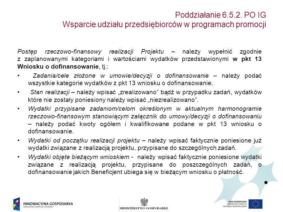Poddziałanie 6.5.2. PO IG Wsparcie udziału przedsiębiorców w programach promocji Postęp rzeczowo-finansowy realizacji Projektu – należy wypełnić zgodn