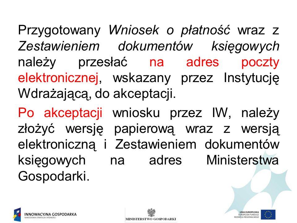 Przygotowany Wniosek o płatność wraz z Zestawieniem dokumentów księgowych należy przesłać na adres poczty elektronicznej, wskazany przez Instytucję Wd