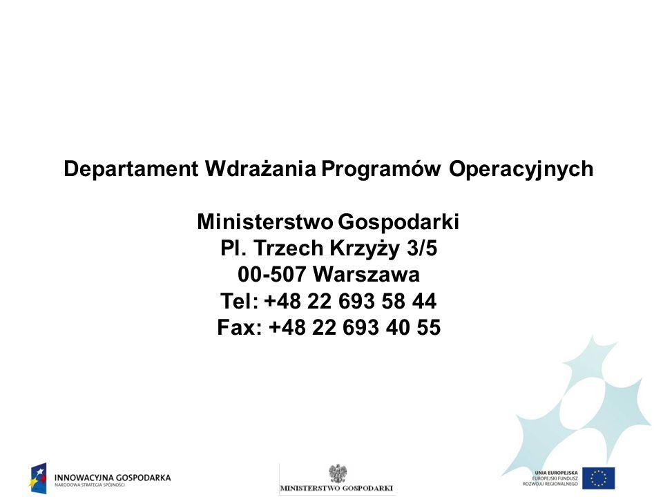Departament Wdrażania Programów Operacyjnych Ministerstwo Gospodarki Pl. Trzech Krzyży 3/5 00-507 Warszawa Tel: +48 22 693 58 44 Fax: +48 22 693 40 55