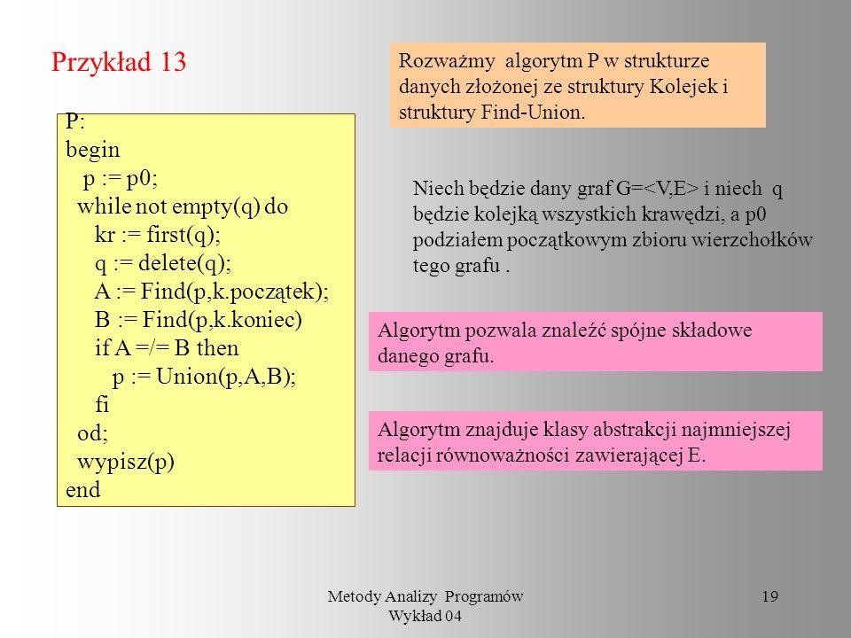Metody Analizy Programów Wykład 04 18 Przykład 12 Algorytm Kruskala: begin p := p0; while not empty(q) do kr := first(q); q := delete(q); A := Find(p,