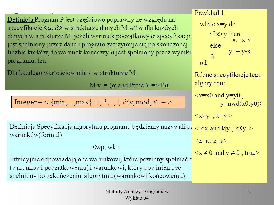 Metody Analizy Programów Wykład 04 1 Metody Analizy Programów Wykład 04 Metoda Floyda badania poprawności programu Grażyna Mirkowska PJWSTK 15 listopa
