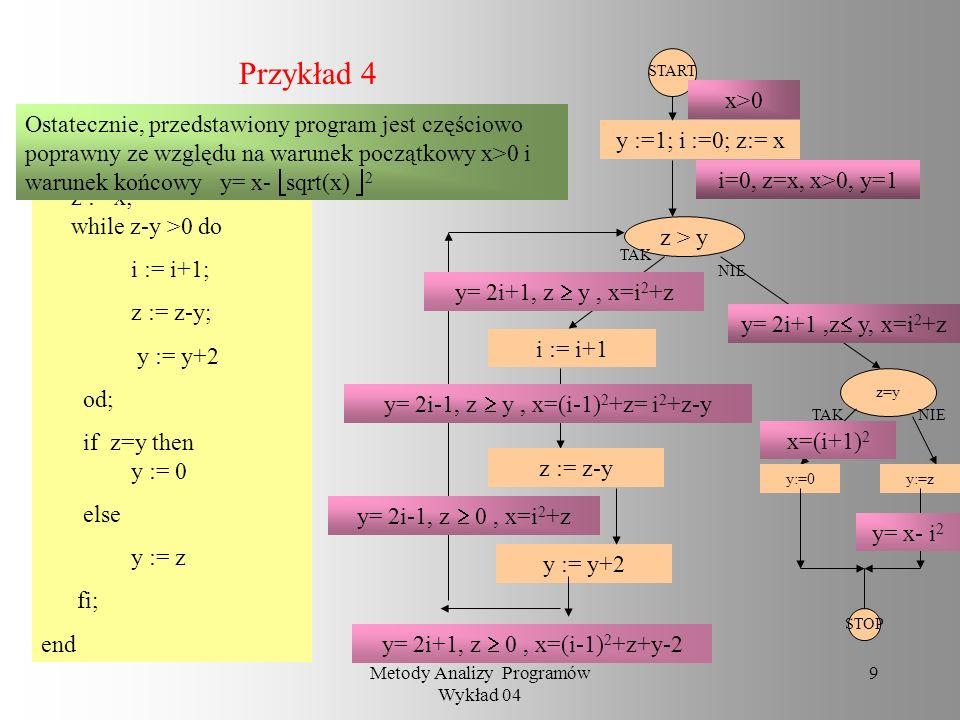 Metody Analizy Programów Wykład 04 8 Przykład 3 begin q := 0; r := x; while y > r do r := r - y; q := q + 1 od end Rozważmy ten program w strukturze l