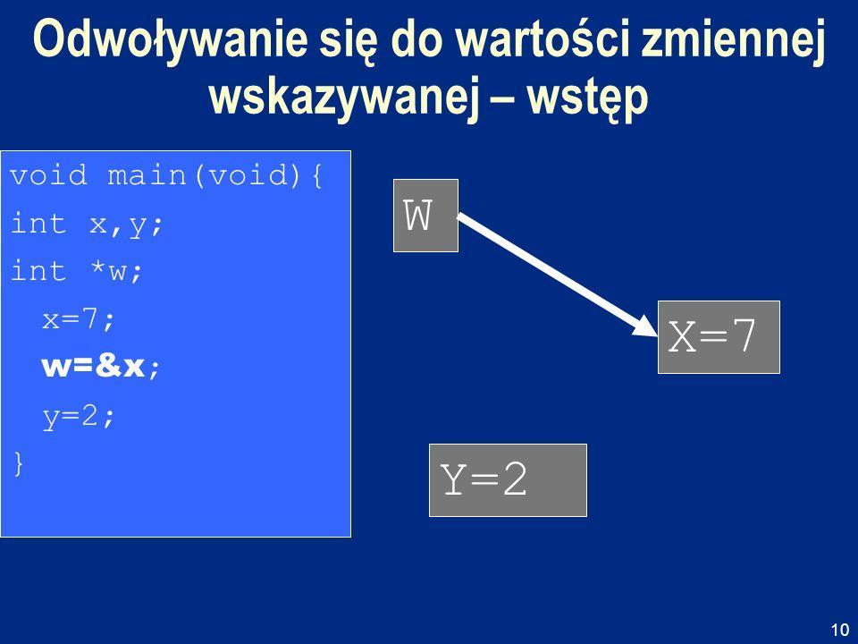 10 Odwoływanie się do wartości zmiennej wskazywanej – wstęp W X=7 Y=2 void main(void){ int x,y; int *w; x=7; w=&x ; y=2; }