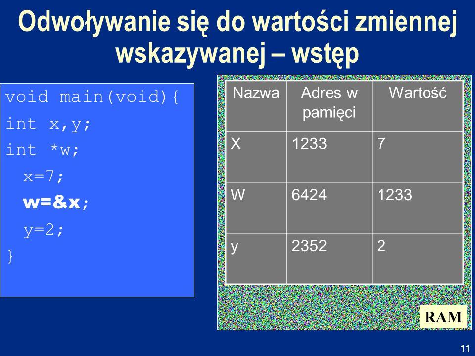 11 Odwoływanie się do wartości zmiennej wskazywanej – wstęp RAM void main(void){ int x,y; int *w; x=7; w=&x ; y=2; } NazwaAdres w pamięci Wartość X123