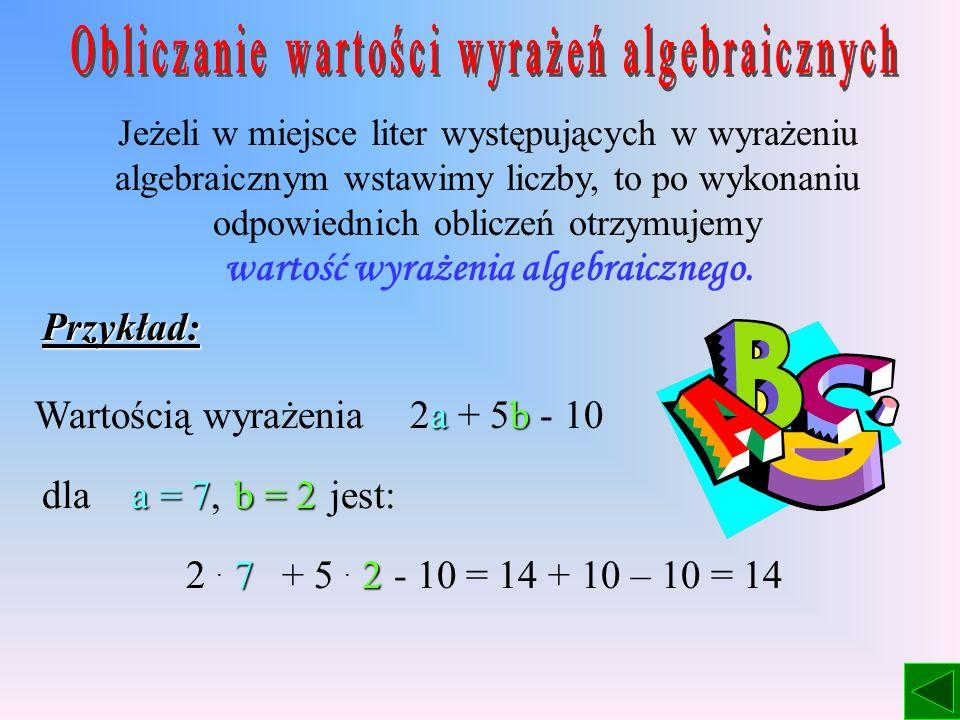 Wyrażenia algebraiczne, to takie wyrażenia, w których występują liczby, litery i znaki działań. Przykłady: 3 + m (x – y) + 2 8a : 4 Zapis: 8a oznacza