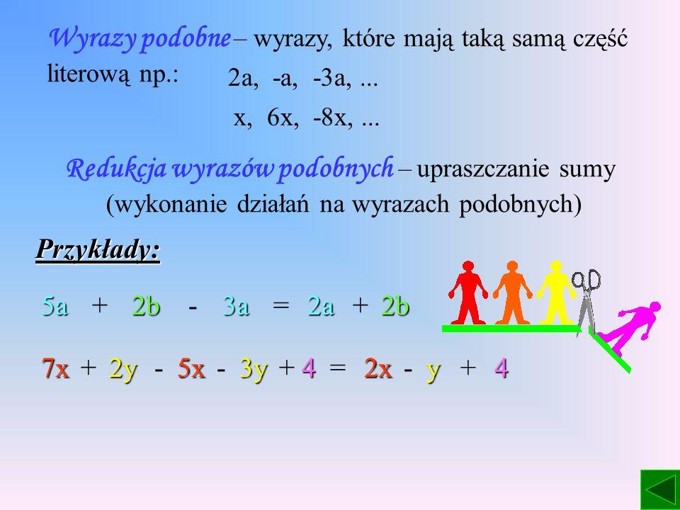 Wyrazy podobne – wyrazy, które mają taką samą część literową np.: 2a, -a, -3a,...