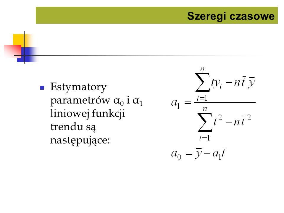 Szeregi czasowe Estymatory parametrów α 0 i α 1 liniowej funkcji trendu są następujące: