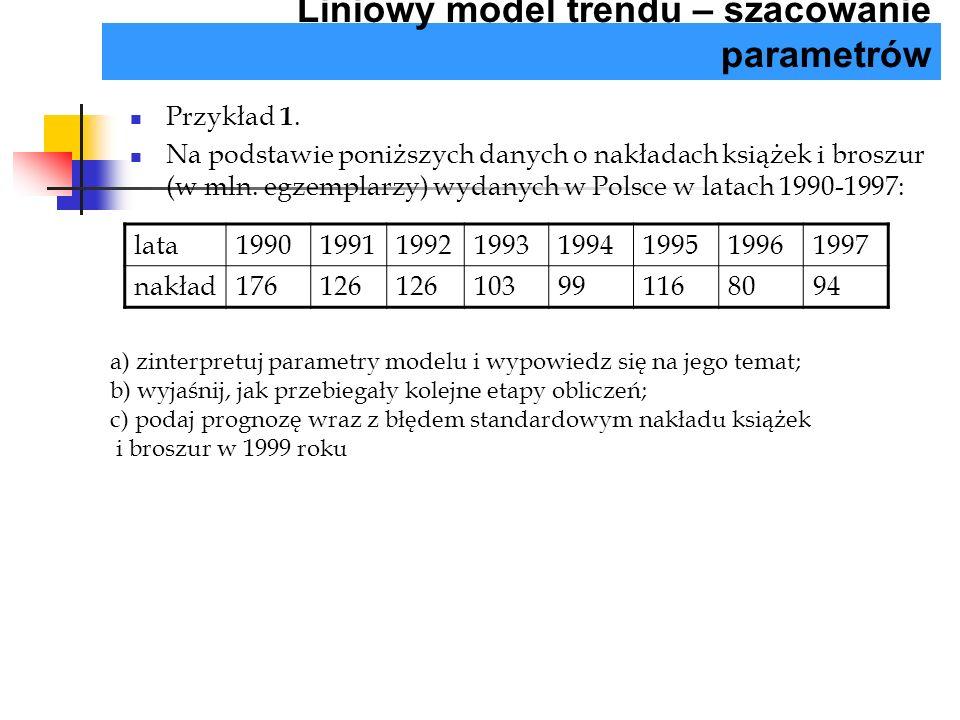 Przykład 1. Na podstawie poniższych danych o nakładach książek i broszur (w mln. egzemplarzy) wydanych w Polsce w latach 1990-1997: Liniowy model tren