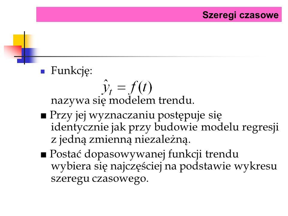 Szeregi czasowe Funkcję: nazywa się modelem trendu. Przy jej wyznaczaniu postępuje się identycznie jak przy budowie modelu regresji z jedną zmienną ni