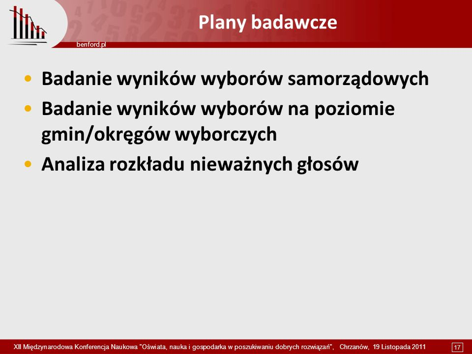 17 benford.pl XII Międzynarodowa Konferencja Naukowa