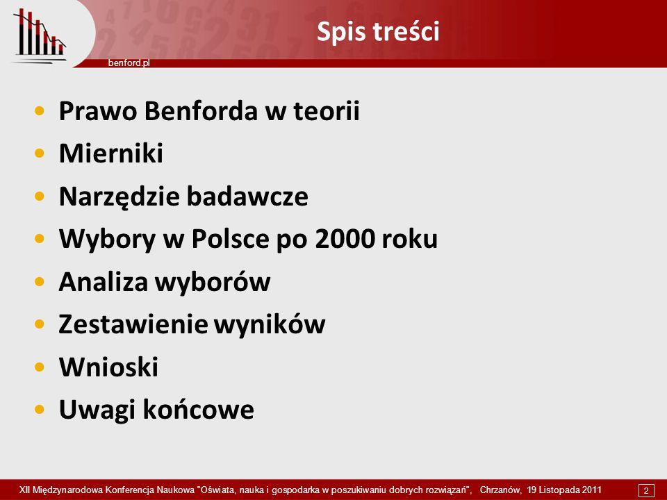2 benford.pl XII Międzynarodowa Konferencja Naukowa