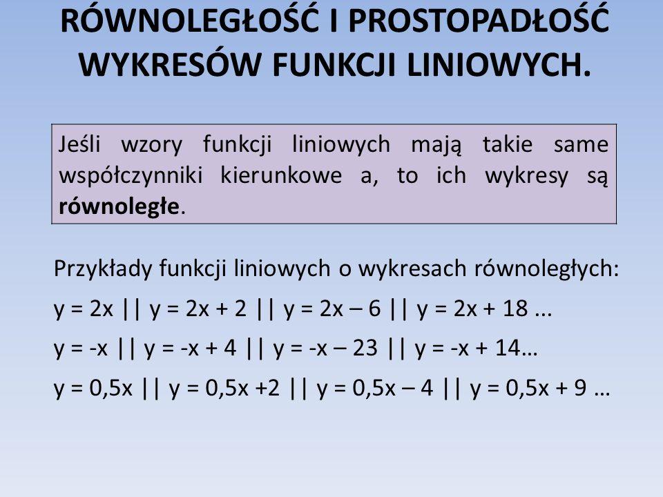 RÓWNOLEGŁOŚĆ I PROSTOPADŁOŚĆ WYKRESÓW FUNKCJI LINIOWYCH. Przykłady funkcji liniowych o wykresach równoległych: y = 2x || y = 2x + 2 || y = 2x – 6 || y