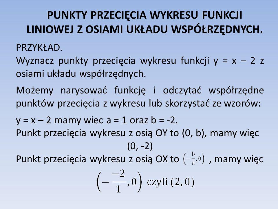 PRZYKŁAD. Wyznacz punkty przecięcia wykresu funkcji y = x – 2 z osiami układu współrzędnych. Możemy narysować funkcję i odczytać współrzędne punktów p