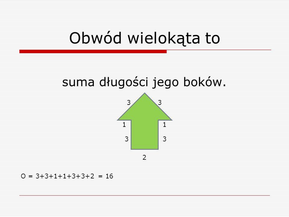 Obwód wielokąta to suma długości jego boków. 3 1 1 3 3 2 O = 3+3+1+1+3+3+2 = 16