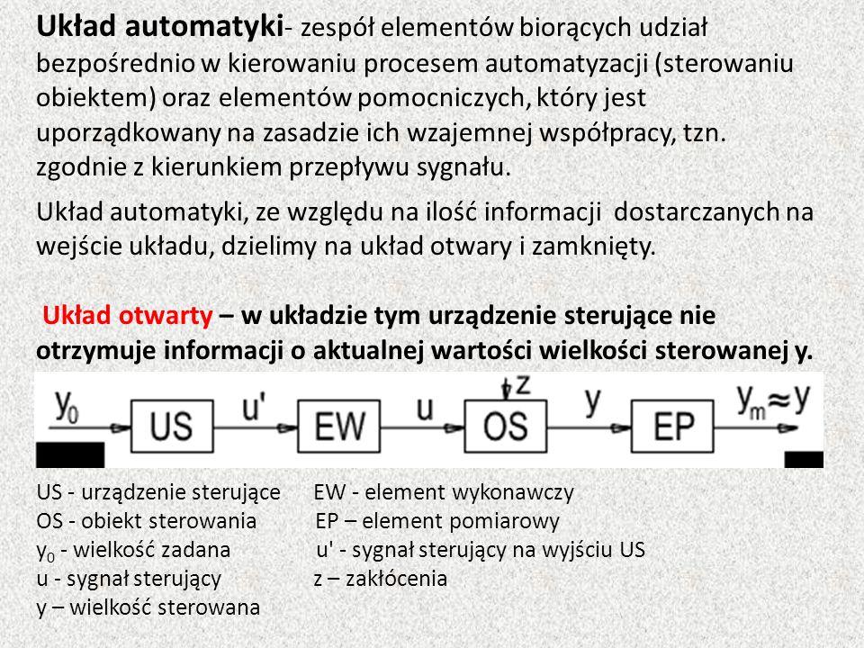 Układ automatyki - zespół elementów biorących udział bezpośrednio w kierowaniu procesem automatyzacji (sterowaniu obiektem) oraz elementów pomocniczyc