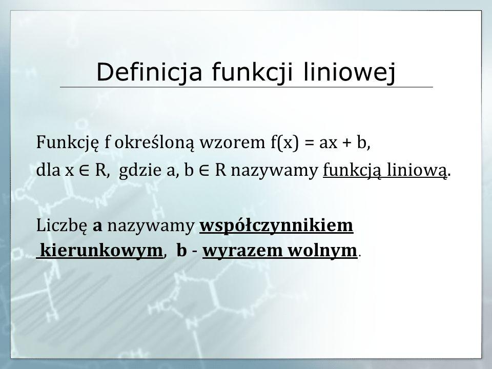 Definicja funkcji liniowej Funkcję f określoną wzorem f(x) = ax + b, dla x R, gdzie a, b R nazywamy funkcją liniową. Liczbę a nazywamy współczynnikiem