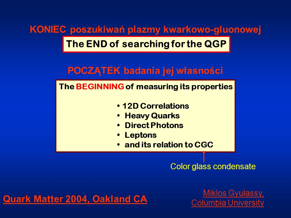 The END of searching for the QGP The BEGINNING of measuring its properties 12D Correlations Heavy Quarks Direct Photons Leptons and its relation to CG