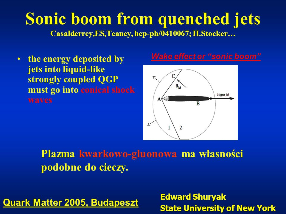 Sonic boom from quenched jets Casalderrey,ES,Teaney, hep-ph/0410067; H.Stocker… the energy deposited by jets into liquid-like strongly coupled QGP mus