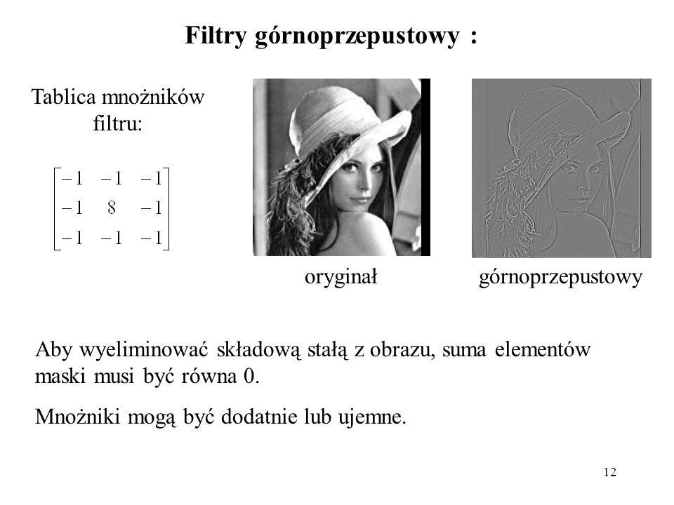 12 Filtry górnoprzepustowy : Tablica mnożników filtru: oryginałgórnoprzepustowy Aby wyeliminować składową stałą z obrazu, suma elementów maski musi by