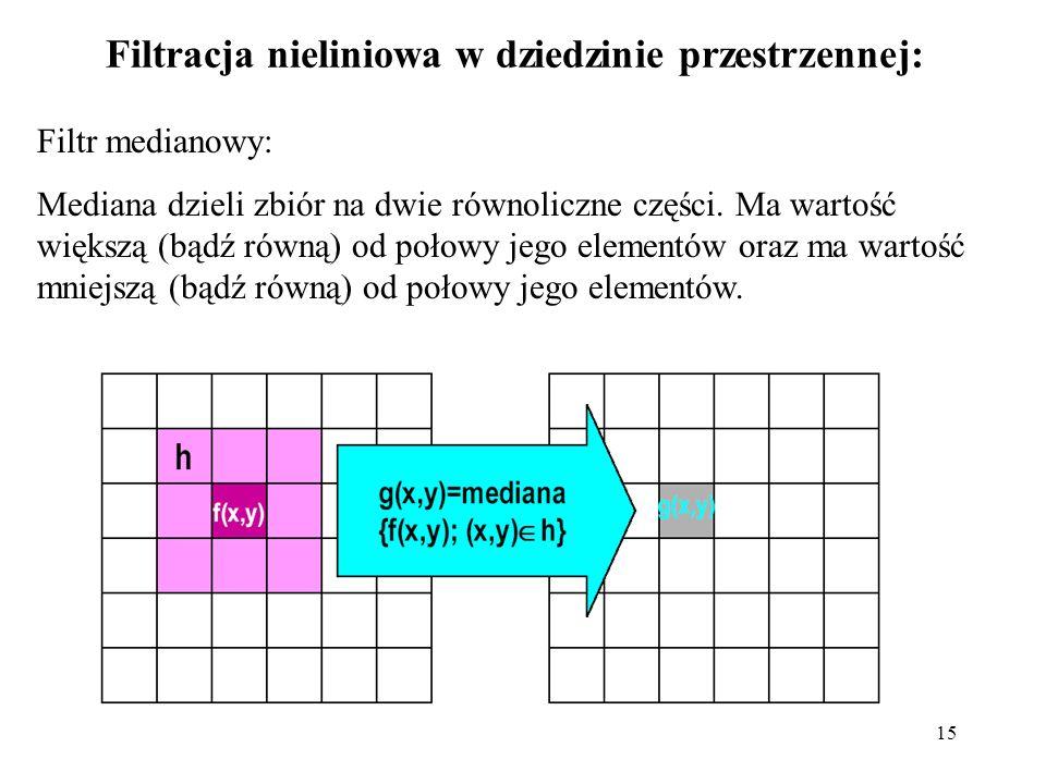 15 Filtracja nieliniowa w dziedzinie przestrzennej: Filtr medianowy: Mediana dzieli zbiór na dwie równoliczne części. Ma wartość większą (bądź równą)