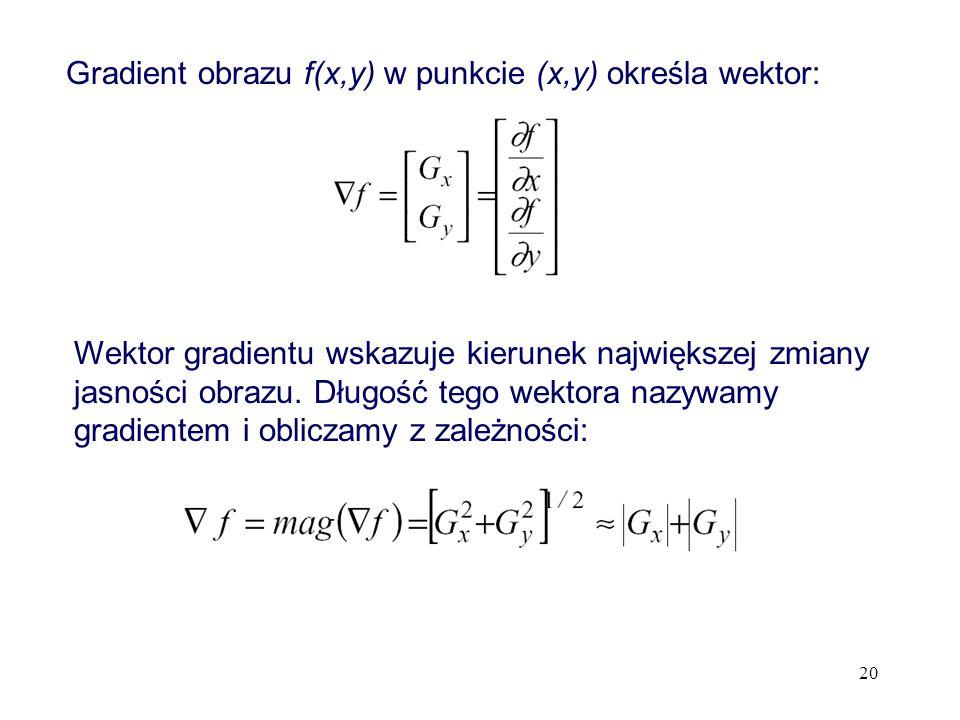 20 Gradient obrazu f(x,y) w punkcie (x,y) określa wektor: Wektor gradientu wskazuje kierunek największej zmiany jasności obrazu. Długość tego wektora