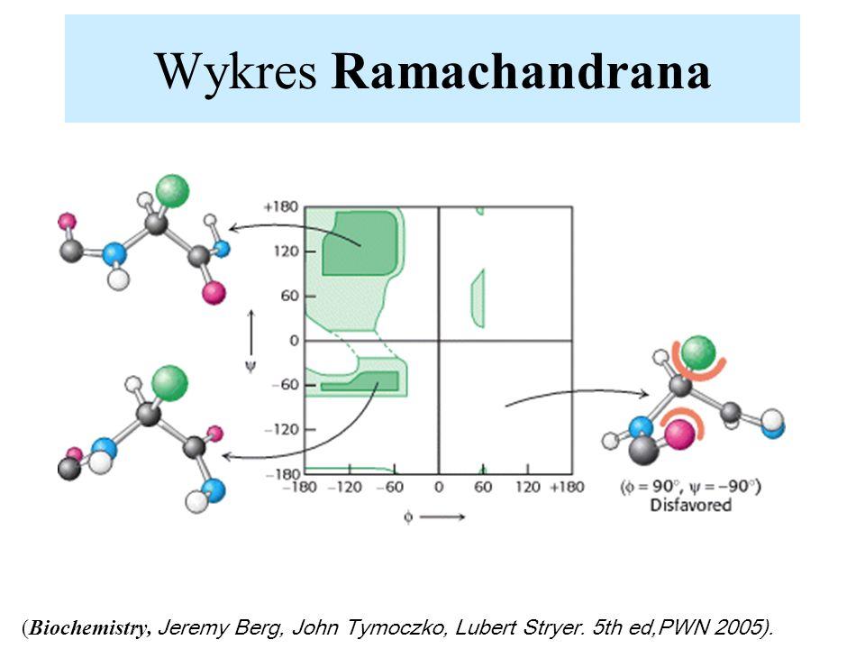 Wykres Ramachandrana (Biochemistry, Jeremy Berg, John Tymoczko, Lubert Stryer. 5th ed,PWN 2005).