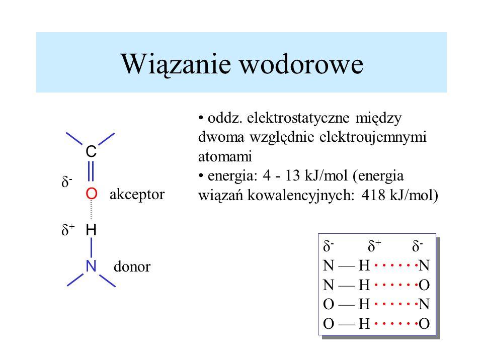 Wiązanie wodorowe donor akceptor oddz. elektrostatyczne między dwoma względnie elektroujemnymi atomami energia: 4 - 13 kJ/mol (energia wiązań kowalenc