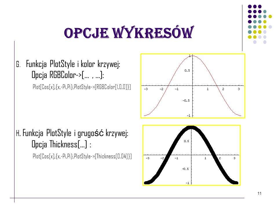 11 Opcje Wykresów G. Funkcja PlotStyle i kolor krzywej: Opcja RGBColor->[…, …]: Plot[Cos[x],{x,-Pi,Pi},PlotStyle->{RGBColor[1,0,0]}] H. Funkcja PlotSt