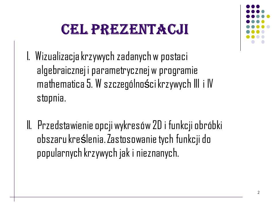 Cel prezentacji I. Wizualizacja krzywych zadanych w postaci algebraicznej i parametrycznej w programie mathematica 5. W szczególno ś ci krzywych III i