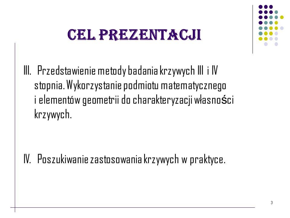 Cel prezentacji 3 III. Przedstawienie metody badania krzywych III i IV stopnia. Wykorzystanie podmiotu matematycznego i elementów geometrii do charakt