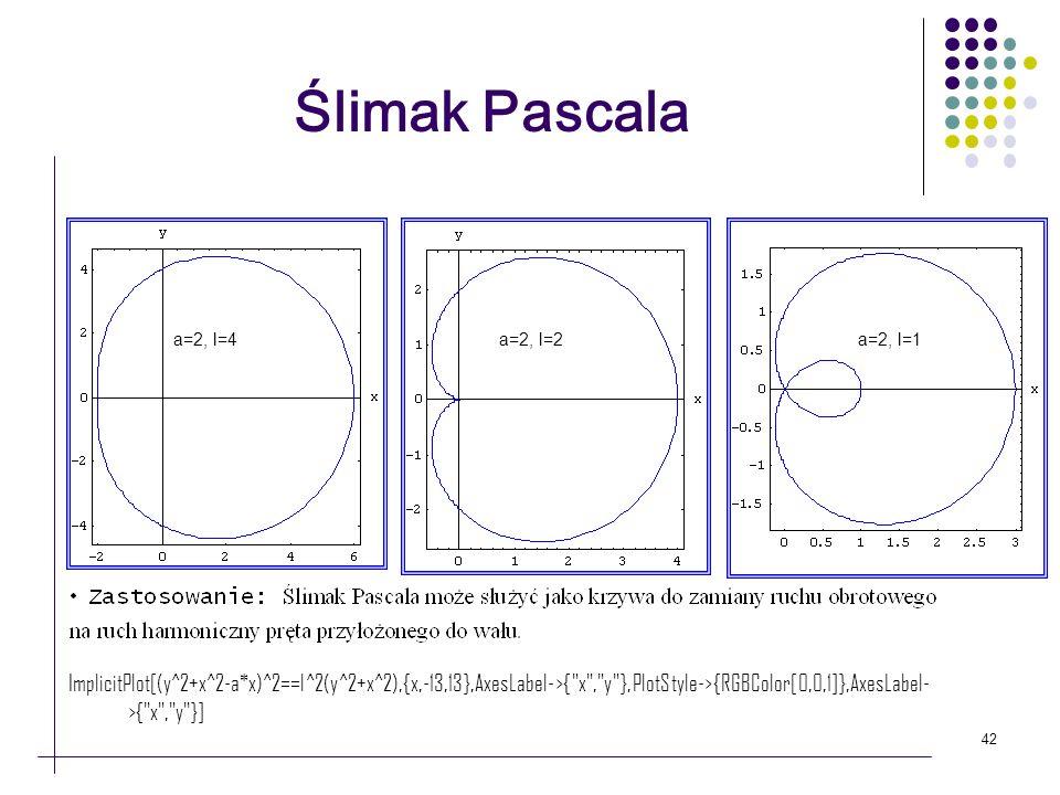 42 Ślimak Pascala a=2, l=2a=2, l=4a=2, l=1 ImplicitPlot[(y^2+x^2-a*x)^2==l^2(y^2+x^2),{x,-13,13},AxesLabel->{