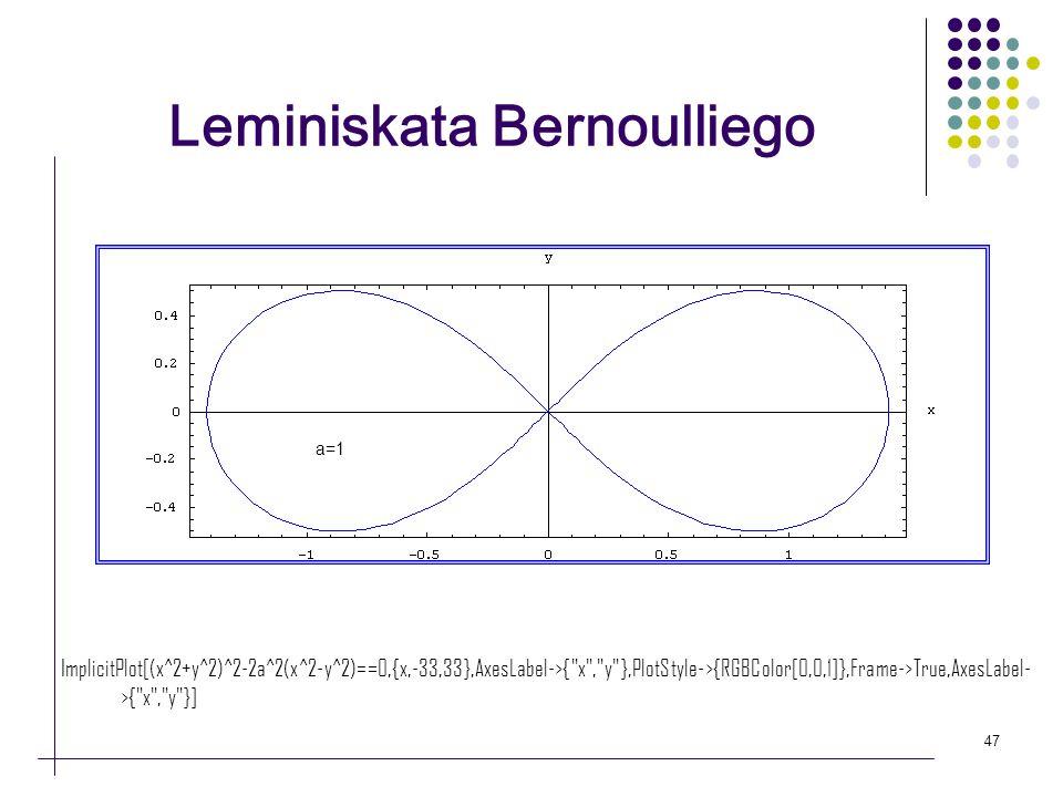 47 Leminiskata Bernoulliego a=1 ImplicitPlot[(x^2+y^2)^2-2a^2(x^2-y^2)==0,{x,-33,33},AxesLabel->{
