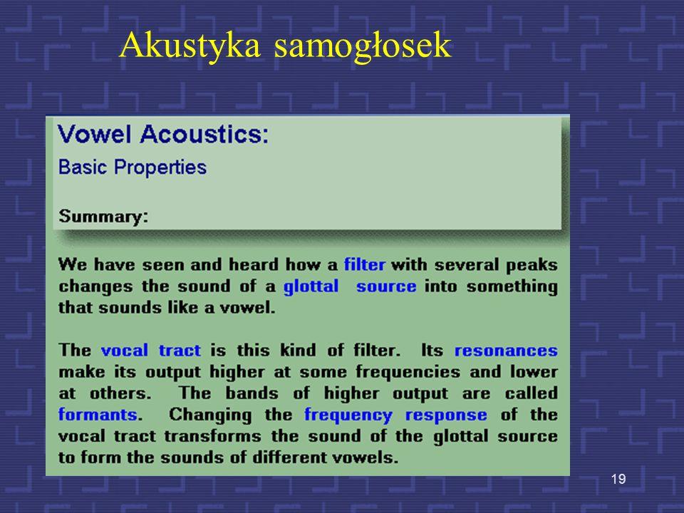 18 Podstawowe własności akustyczne samogłosek