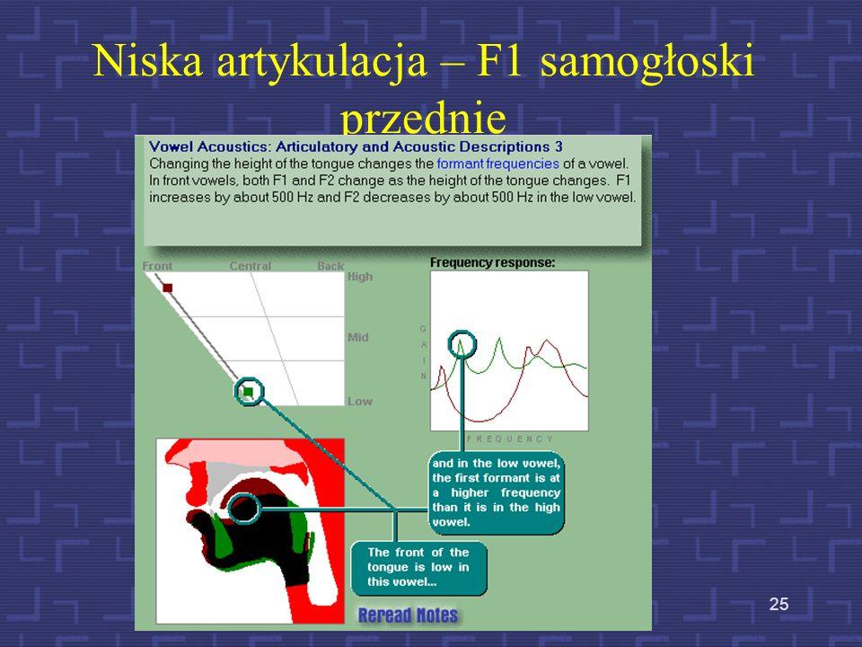 24 Wysoka artykulacja (wysokie ułożenie masy języka – F1 samogłoski przednie