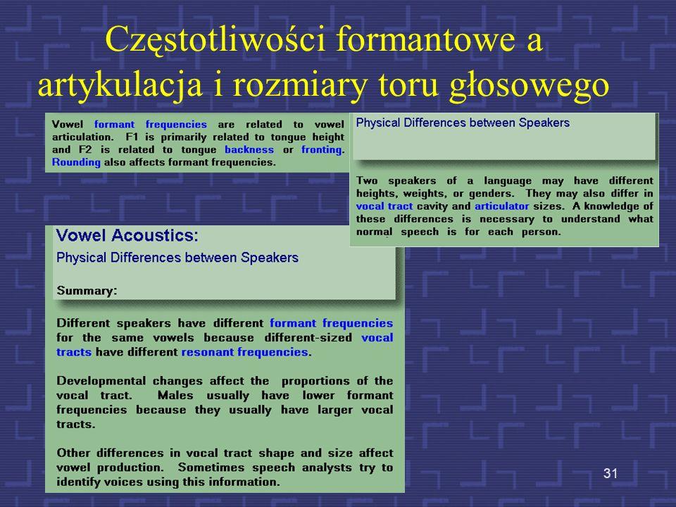 30 Opis artykulacyjny a opis akustyczny
