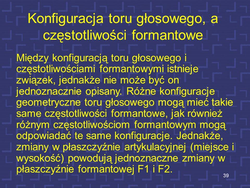 38 Rozkład częstotliwości formantowych u dzieci i młodzieży w wieku 3-19 samogłoska /a/