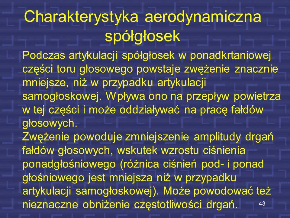 42 Źródło krtaniowe - pobudzenie periodyczne (harmoniczne) powstające w wyniku drgań fałdów głosowych Źródło szumowe - szum powstający w wyniku gwałto